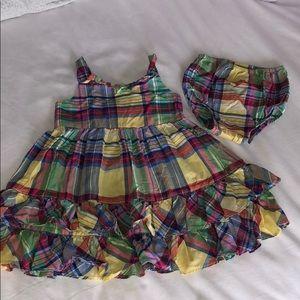 Ralph Lauren madras dress w/ matching diaper cover